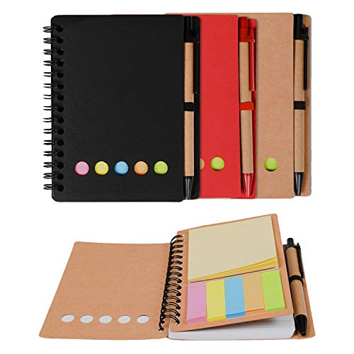 Kisdo 3 Packs Spiral Notebook Sticky Notes Business Notebook with Pen In Holder, Page Marker Colored Index Tabs, 4.5�x5.5� Lined Steno Pocket Kraft Paper Cover Notepad