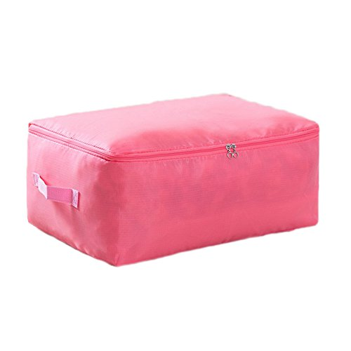 iTemer Duvet Storage Bag with Zips and Handle,Bedding,Quilt,Blankets, Clutter, Moving,Organizer bag for Season Items Pink