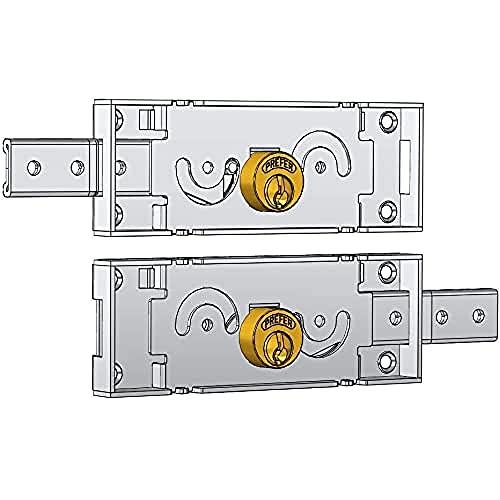 Cerraduras laterales accoppiate para persiana Art. a711.0una conducción, Cilindro de latón.Incluye dos llaves. Acabado galvanizado. Caja mm 155x 55.