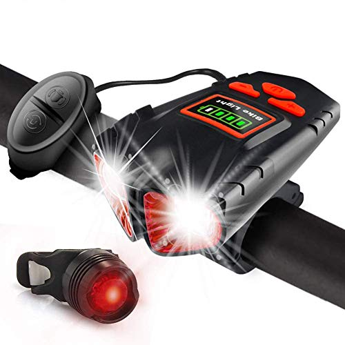 USB Rechargeable Bike Lights Front and Back - 1000 Lumens Headlight & Tail Light Set-with Bike Bell Horn- Water Resistant - Fits All Bicycles, Hybrid, Road, MTB