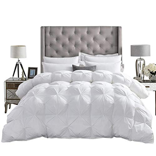 LUXURIOUS All-Season Goose Down Comforter King Size Duvet Insert, Exquisite PINCH PLEAT Design, Premium Baffle Box, 1200 Thread Count 100% Egyptian Cotton, 750+ Fill Power, 65 oz Fill Weight, White