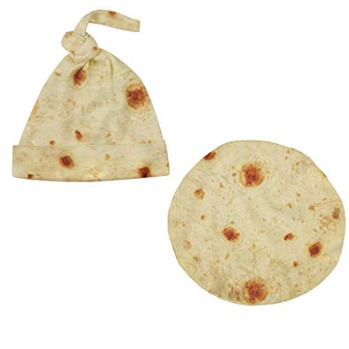 SMILEQ Moda Manta Creativa Burrito Bebé Manta Harina Tortilla Swaddle Manta Dormir Swaddle Wrap Sombrero (Beige)