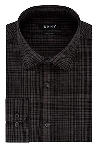 DKNY Herren Stretch Check Smokinghemd, Carbon, S Hals 37 cm, Ärmel 81/84 cm