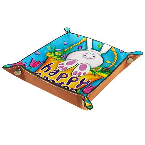 YATELI Caja de Almacenamiento pequeña, Bandeja de Valet para Hombre,Conejito de Conejo Decorativo Lindo Conejo Primavera Canasta de Pascua,Organizador de Cuero para Llaves de Caja de Monedas