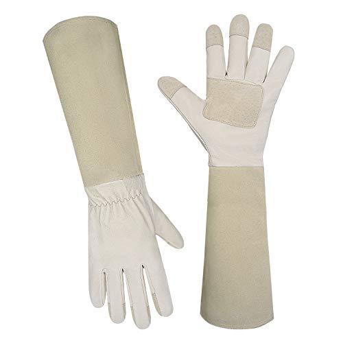 Euglove Thornproof Leder Gartenhandschuhe Langarm für Frauen und Männer, Rose Beschneiden Floral Gauntlet Garten Handschuhe (M, Beige)