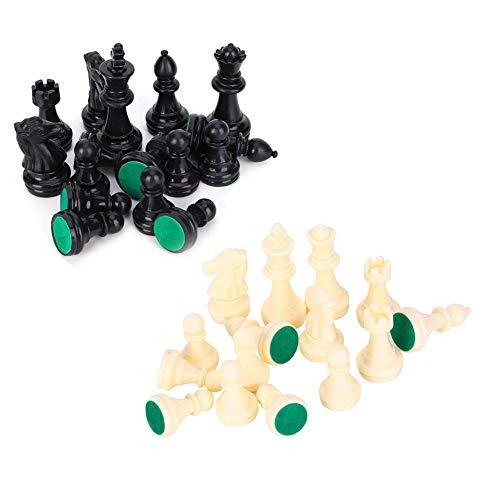 ROSEBEAR Juego de Piezas de Ajedrez de Plástico Juego de Ajedrez Internacional Juego de Piezas de Ajedrez Completo en Blanco Y Negro