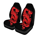 Pinbeam Car Seat Covers Tattoo of Red Dragon on Fire Asian Set of 2 Auto Accessories Protectors Car Decor Universal Fit for Car Truck SUV