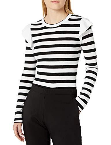CATHERINE CATHERINE MALANDRINO Women's Karina Sweater, Black/White Stripe, Small