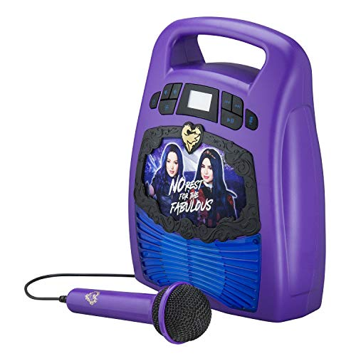 Descendants Bluetooth Portable MP3 Karaoke Machine Player With Light Show Store Hours of Music With Built In Memory Sing Along Using The Real Working Microphone USB Port To Expand Your Content