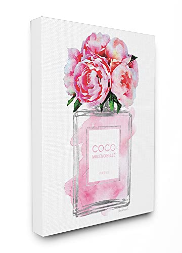 Stupell Industries Glam Perfume Bottle V2 Flower Silver Pink Peony Oversized Stretched Canvas Wall Art, Proudly Made in USA