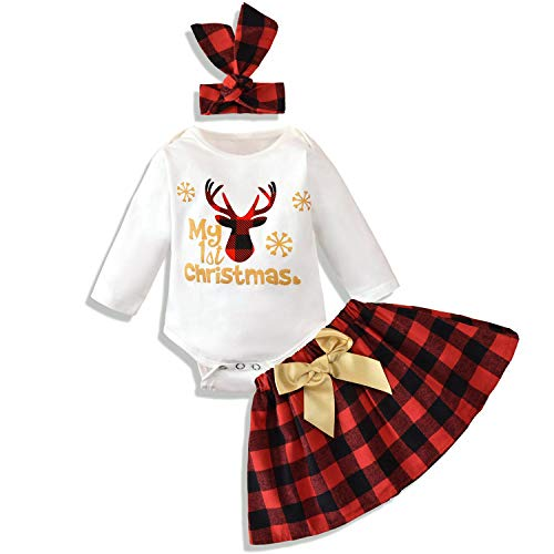 Baby Girl Clothes My 1st Christmas Bodysuit+Plaid Skirt+Headband 3PCS Outfits (White,0-3 Months)
