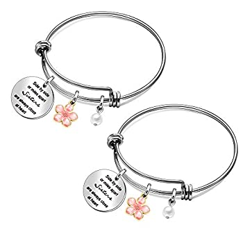 Maxforever 2Pcs Sister Bangles Gift Side by Side or Miles Apart are Always Close at Heart Bracelet Bangle Birthday Graduation for Daughters Sister
