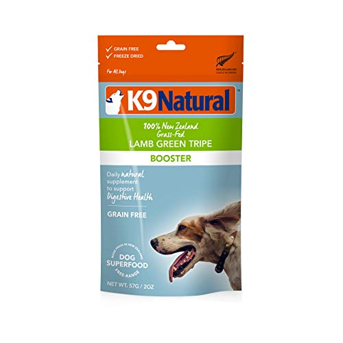 K9 Natural Freeze Dried Dog Food Topper, Perfect Grain Free, Healthy, Hypoallergenic Limited Ingredients For All Dog's, Raw, Freeze Dried Mixer, 100% Lamb Green Tripe Nutrition (2oz)