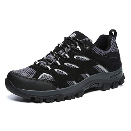 DUORO Hiking Shoes for Men Trail Running Backpacking Walking Shoes Lightweight Athletic Trekking Low Top Work Shoes (11 US/280mm, Black)