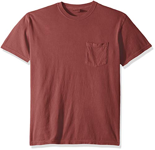 Comfort Colors Men's Adult Short Sleeve Pocket Tee, Style 6030, Crimson, X-Large