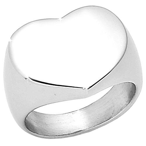 Beloved  Anello da mignolo da Donna Vari Modelli in Acciaio Inossidabile - Misura Varia, Anallergico, Alta qualità (Silver Heart, 9)