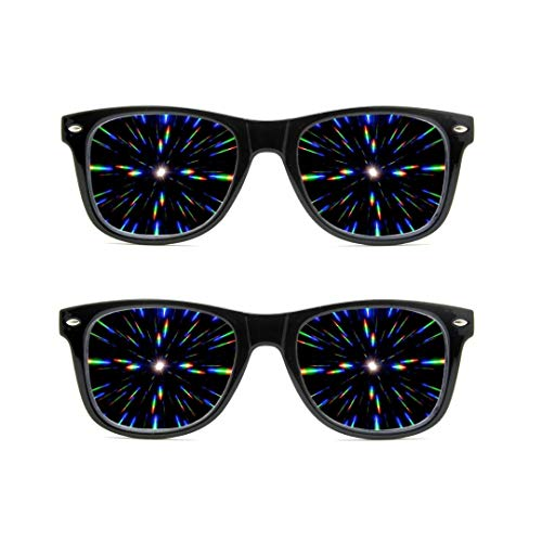 GloFX Ultimate Diffraktionsbrille – 2er-Pack – 3D Prisma-Effekt EDM Rainbow Rave, Sonnenbrille