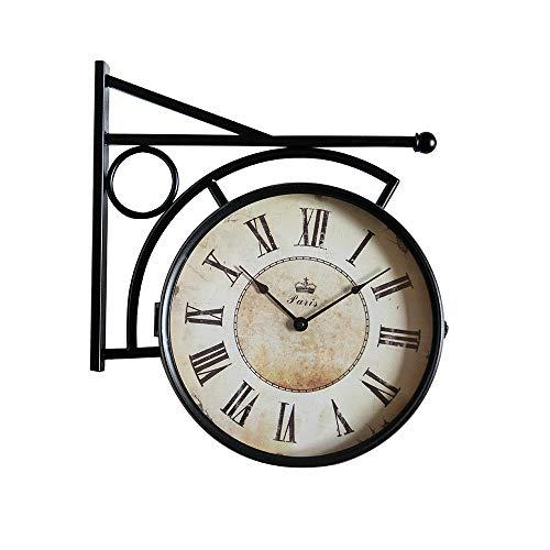 VBARV Doppelseitige Vintage-Stationsuhr, Außenhalterungsuhr, hochwertige Metallmaterialien, Retro-Eisen im antiken Look, mit wasserdichter Abdeckung, leicht zu lesen, für Gartenhäuser