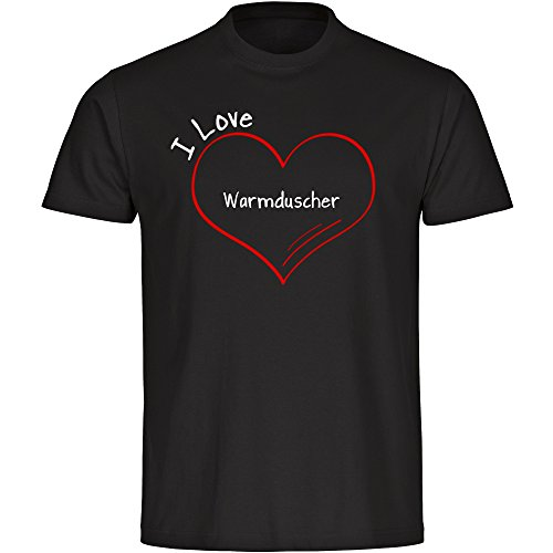 T-shirt modern I Love warme douchebak zwart heren maat S tot 5XL