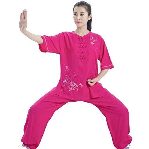 JY&WIN Ropa de Tai Chi de Artes Marciales Qigong Tradicional Chino Uniforme de Tai Chiquan Bordado de algodón de Lino de Verano Rojo-XL