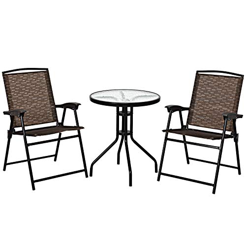 Giantex Patio Dining Set with 2 Patio Folding Chairs, Outdoor Round Table and Chairs for Garden, Pool, Backyard, Tempered Glass Tabletop, Bistro Dining Furniture Set (Brown)