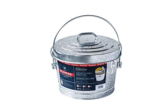 Behrens 1697 Manufacturing 6104 Galvanized Steel Locking Lid Can, 4-Gallon, Original Version