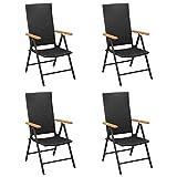 <span class='highlight'><span class='highlight'>Tidyard</span></span> Garden Chairs Reclining Chairs 4 pcs Armchair Folding Dining Chair Poly Rattan Black for Garden Terrace Patio