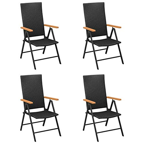 Tidyard Garden Chairs Reclining Chairs 4 pcs Armchair Folding Dining Chair Poly Rattan Black for Garden Terrace Patio