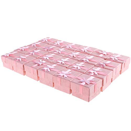 TOYANDONA 24Pcs 4 * 4 * 3Cm Papier Pappe Schmuck Geschenkboxen Bowknot Stil Ohrring Armband Halskette Schmuck Aufbewahrungsboxen Geschenkboxen Fälle Veranstalter (Rosa)