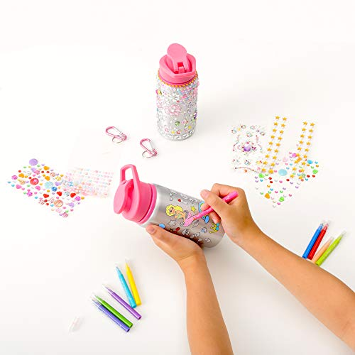 Purple Ladybug Water Bottles Set for Girls - 1 Decorate Your Own Glitter Gem Water Bottle with Rhinestone Stickers +1 Color Your Own Kids Water Bottle with Bright Markers! Cute Gift, Fun DIY Craft Kit