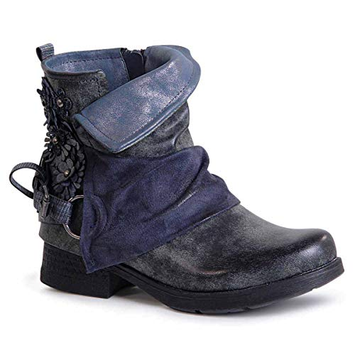 topschuhe24 1476 Damen Stiefeletten Worker Biker Boots Blume, Größe:37 EU, Farbe:Blau