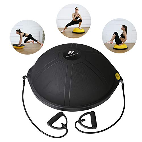 Finer Form Half Ball Balance Trainer with Resistance Bands for Home Gym Training, Yoga, Full-Body Workout (2020 Edition)