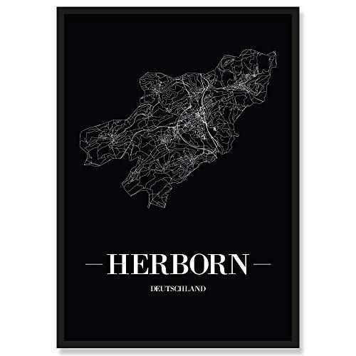 JUNIWORDS Stadtposter, Herborn, Wähle eine Größe, 30 x 40 cm, Poster mit Rahmen, Schrift A, Schwarz