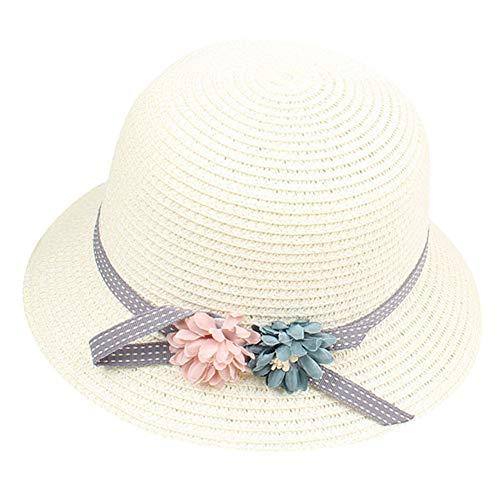 Kanggest.Sombrero de Paja Playa para Niña Bebé Sombrero de Osoito Gorro de Sol de Ocio al Deporte Aire Libre Verano Sombrero de Verano con Flores para Unisex Niñas