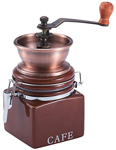 Benera Molinillo de café manual, estilo retro, vintage, molinillo de café manual, molinillo de café decorativo, 17 x 15 cm