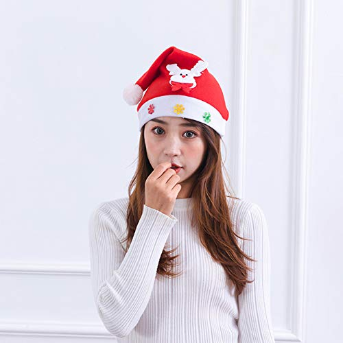 CLLC Kerstmis hoed volwassen Kerstmis schattige hoed stickers Santa sneeuwpop elanden stereo hoed