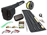 Wild Water Fly Fishing 9 Foot, 4-Piece, 9/10 Weight Fly Rod Complete Fly Fishing Rod and Reel Combo...