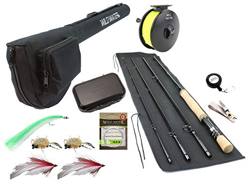 Wild Water Fly Fishing 9 Foot, 4-Piece, 9/10 Weight Fly Rod Complete Fly Fishing Rod and Reel Combo Starter Package with Saltwater Flies