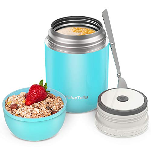 ValueTalks Frasco Térmico Comida 450ml Termo para Alimentos de Acero Inoxidable Aislado al Vacío Frasco con una Cuchara Plegable para Adultos Niños y Bebés (Azul)