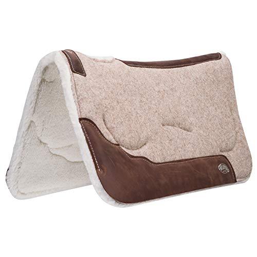 Weaver Leather 100% Wool Felt Saddle Pad with Gel Insert and Merino Wool Fleece Liner , Dark Gray , 32 x 32