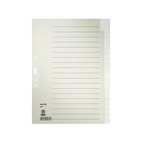 Leitz Register für A4, Deckblatt und 20 Trennblätter, Lochrand und Taben verstärkt, Grau, 100% Recyclingkarton, Blauer Engel Siegel, 60960085
