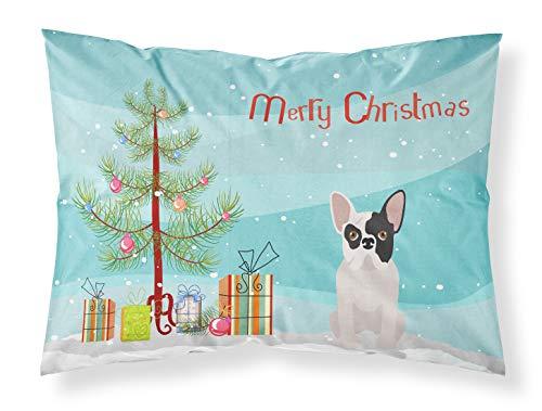 Caroline's Treasures CK3500PILLOWCASE Black and White French Bulldog Christmas Tree Fabric Standard Pillowcase, Standard, Multicolor