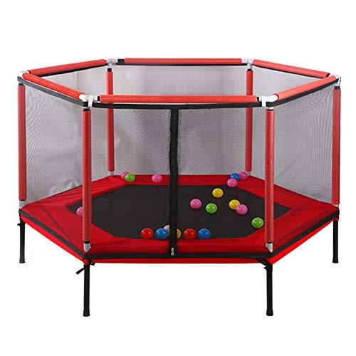 SXYY Interior/Niños/Pequeño/Cama Que Despide,Cama Elástica Familiar con Red Protectora - Diseño Hexagonal Estable,Ø61in,Pro Gym Rebounder - Cama Elástica,Rojo