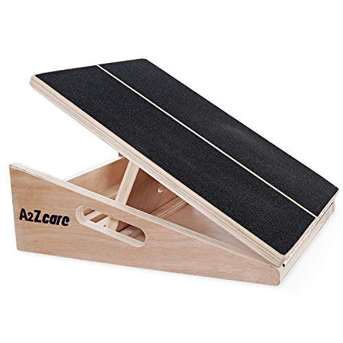A2ZCARE Wooden Slant Board, Adjustable Wooden Incline Stretch Board with Full Non-Slip Surface,Calf Stretcher, Stretch Board, Side Handles for Physical Therapists. (Slant Board) (Slant Board)