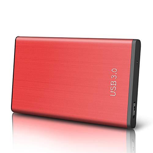 Externe Festplatte 1tb USB3.0 Externe Festplatte für Mac, MacBook, PC, Xbox One, Xbox 360, Desktop, Chromebook, Laptop (1tb, rot)