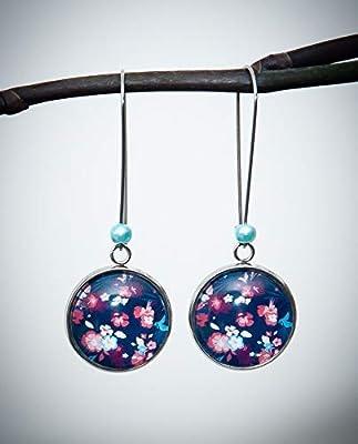 Boucles d'oreilles pendantes bleu marine, fleur orange passion, style japonais, longues dormeuses acier inoxydable argent
