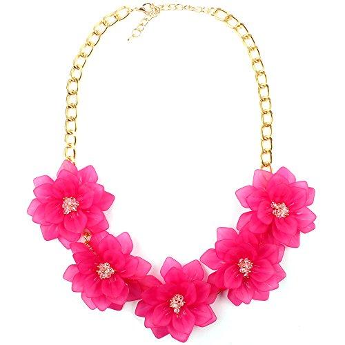Claire Jin Flor Collar Mujer Joyería Moda Resina Cristal Verano Playa Cinco Flores Collares Mujeres Joven Cortos Accesorios 12 Colores (Fucsia)
