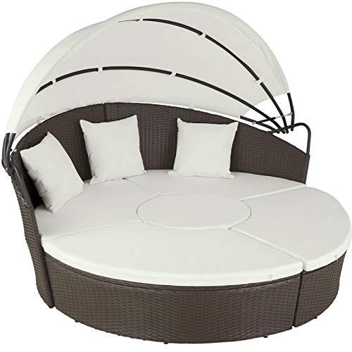 Alu Rattan Sonneninsel Sonnenliege Sitzgruppe Gartenlounge Gartenmöbel Lounge (Color : Antik Braun)