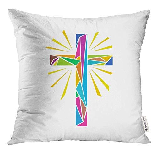 485 Protectora De Almohada 45x45cm Fundas De Almohada Catholic Church Symbols The Cross of Jesus Christ Made Up Colored Shine Rays Easter Tirar Almohada Cojin