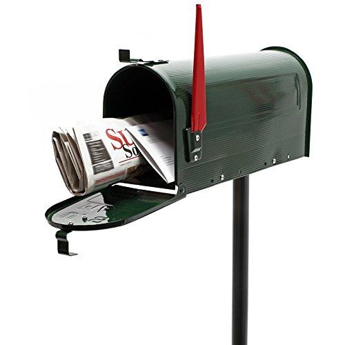 WilTec US Mailbox Briefkasten Amerikanisches Design grün mit passendem Standfuß